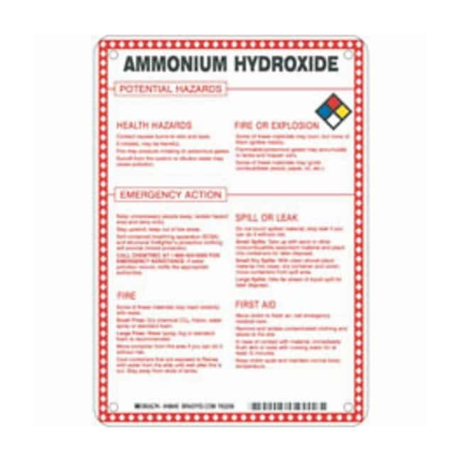 Brady Fiberglass Hazard Sign: AMMONIUM HYDROXIDE POTENTIAL HAZARDS Black/blue/red/yellow