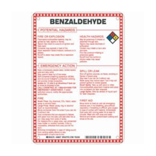 Brady Fiberglass Hazard Sign: BENZALDEHYDE POTENTIAL HAZARDS Black/blue/red/yellow