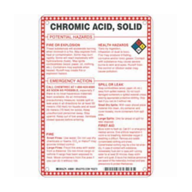 Brady Fiberglass Hazard Sign: CHROMIC ACID, SOLID CHROMIUM ANHYDRIDE POTENTIAL
