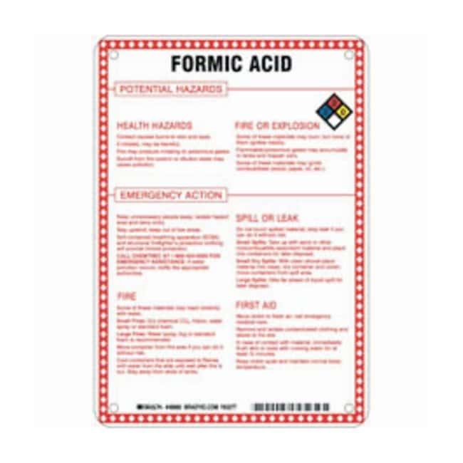 Brady Fiberglass Hazard Sign: FORMIC ACID POTENTIAL HAZARDS Black/blue/red/yellow