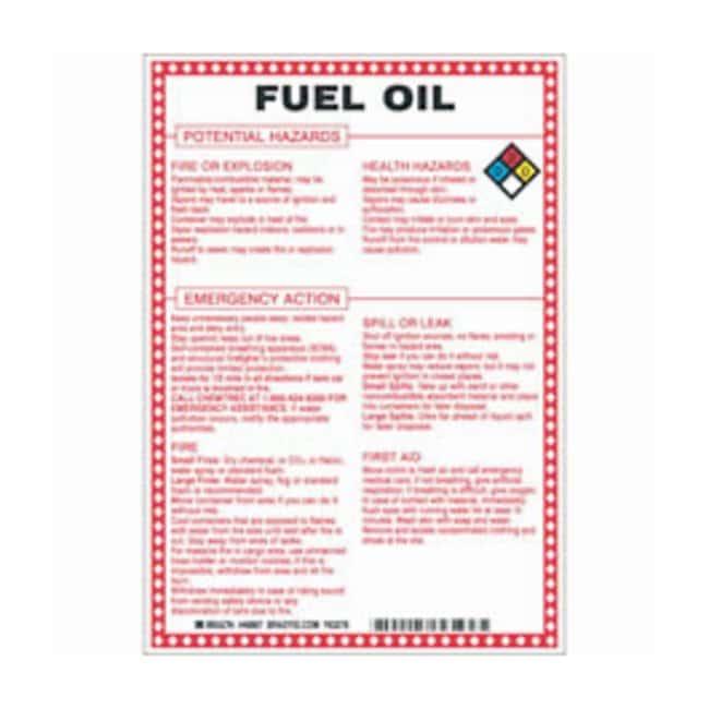 Brady Fiberglass Hazard Sign: FUEL OIL POTENTIAL HAZARDS Black/blue/red/yellow