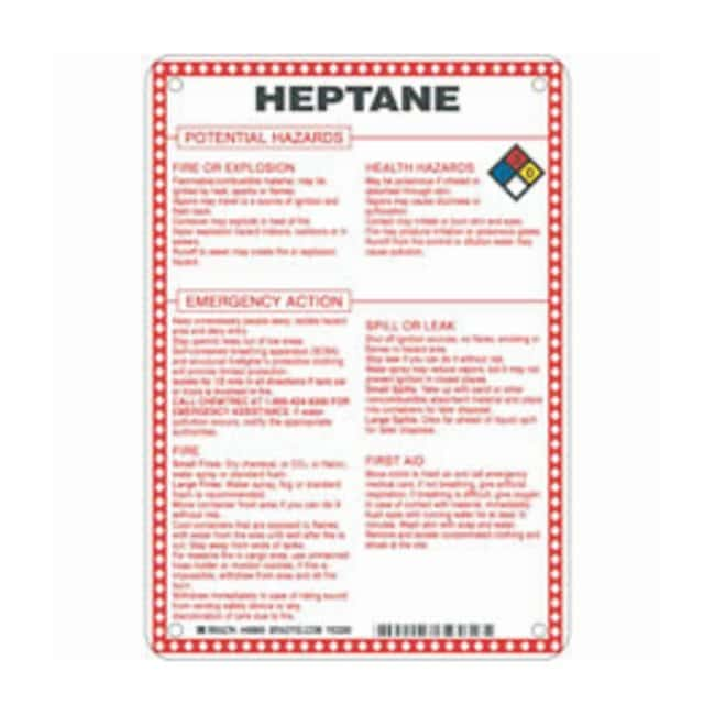 Brady Fiberglass Hazard Sign: HEPTANE POTENTIAL HAZARDS Black/blue/red/yellow