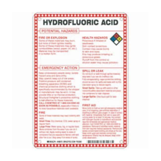 Brady Fiberglass Hazard Sign: HYDROFLOURIC ACID POTENTIAL HAZARDS Black/blue/red/yellow