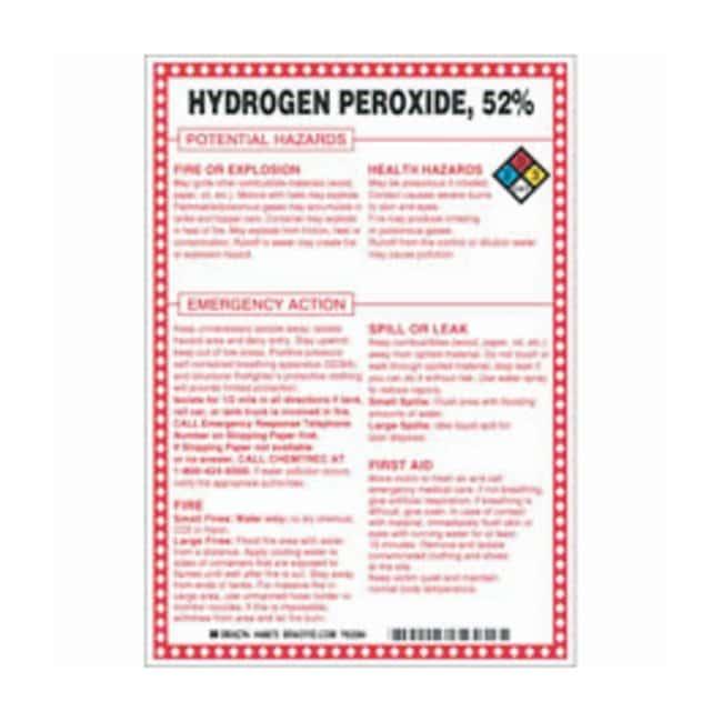 Brady Fiberglass Hazard Sign: HYDROGEN PEROXIDE, 52% POTENTIAL HAZARDS
