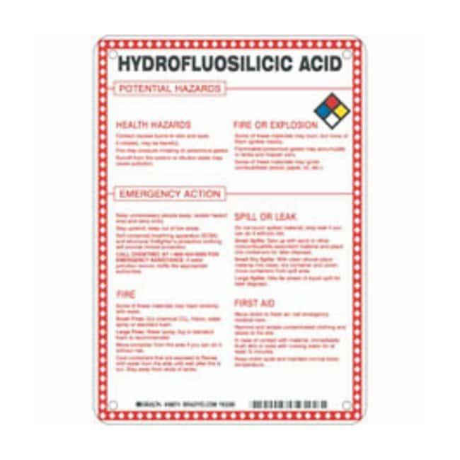 Brady Fiberglass Hazard Sign: HYDROFLUORSILICIC ACID POTENTIAL HAZARDS
