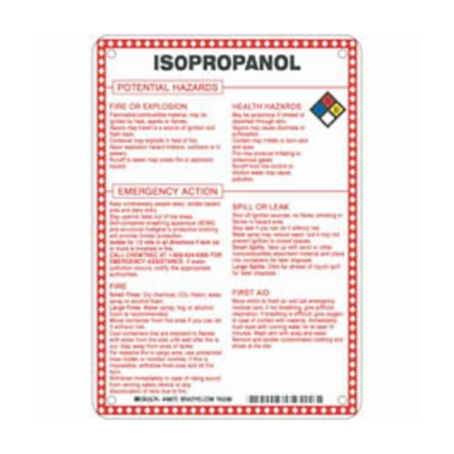 Brady Fiberglass Hazard Sign: ISOPROPANOL POTENTIAL HAZARDS Black/blue/red/yellow