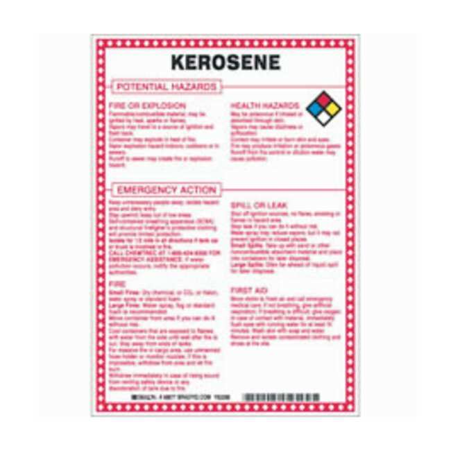 Brady Fiberglass Hazard Sign: KEROSENE POTENTIAL HAZARDS Black/blue/red/yellow