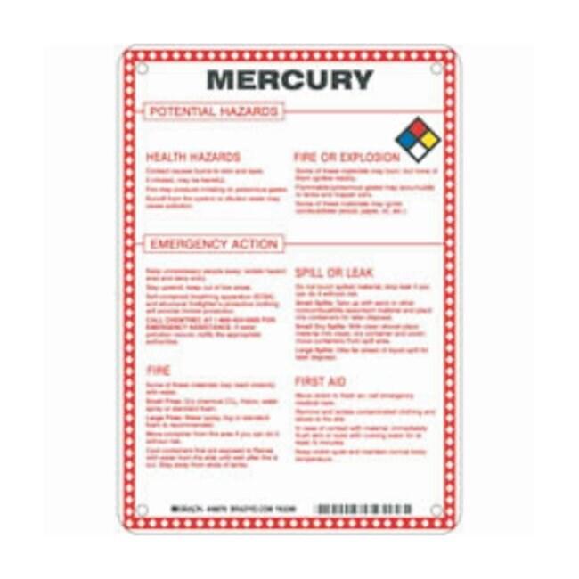 Brady Fiberglass Hazard Sign: MERCURY POTENTIAL HAZARDS Black/blue/red/yellow