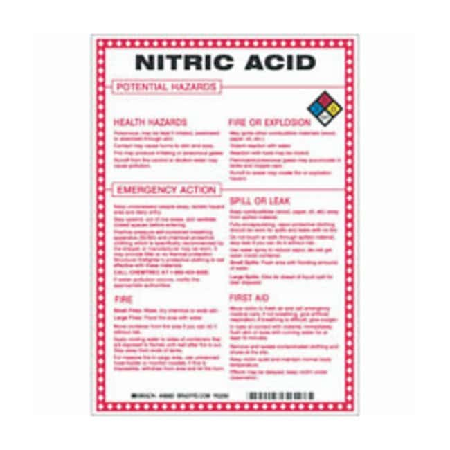 Brady Fiberglass Hazard Sign: NITRIC ACID POTENTIAL HAZARDS Black/blue/red/yellow