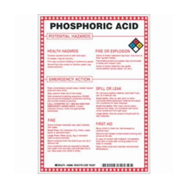 Brady Fiberglass Hazard Sign: PHOSPHORIC ACID POTENTIAL HAZARDS Black/blue/red/yellow
