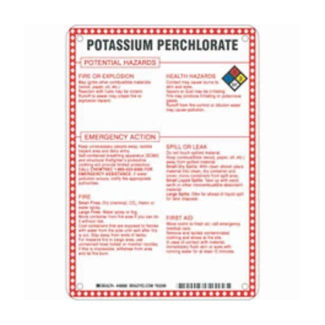 Brady Fiberglass Hazard Sign: POTASSIUM PERCHLORATE POTENTIAL HAZARDS Black/blue/red/yellow