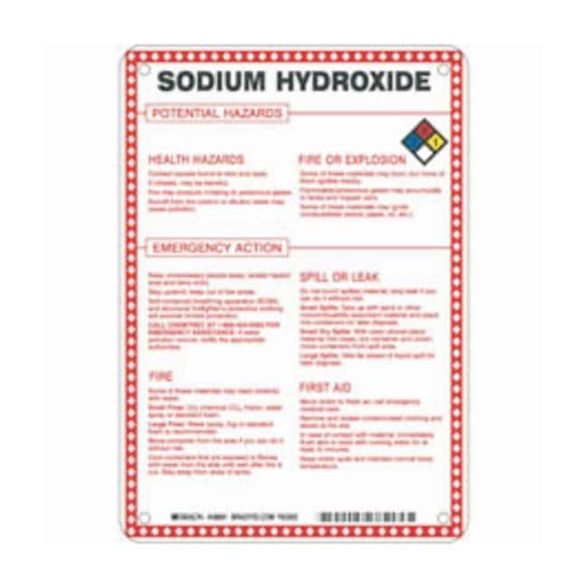 Brady Fiberglass Hazard Sign: SODIUM HYDROXIDE POTENTIAL HAZARDS Black/blue/red/yellow