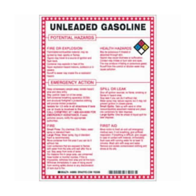 Brady Fiberglass Hazard Sign: UNLEADED GASOLINE POTENTIAL HAZARDS Black/blue/red/yellow
