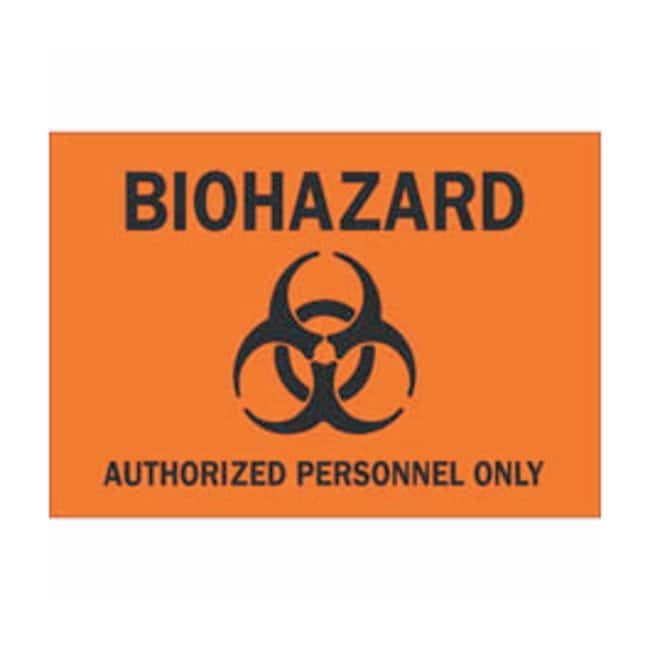 Brady Polyester Biohazard Sign: AUTHORIZED PERSONNEL ONLY Black on orange;