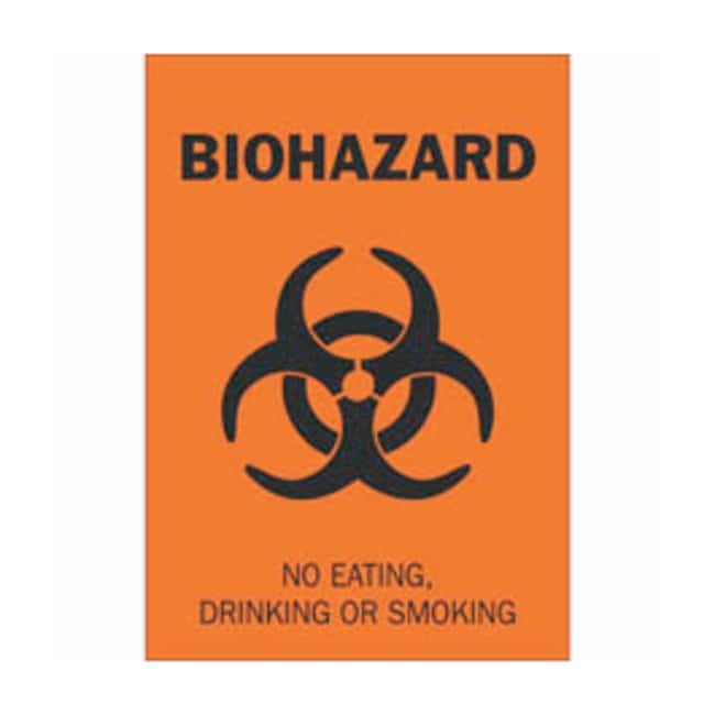 Brady Polyester Biohazard Sign: NO EATING, DRINKING OR SMOKING Black on