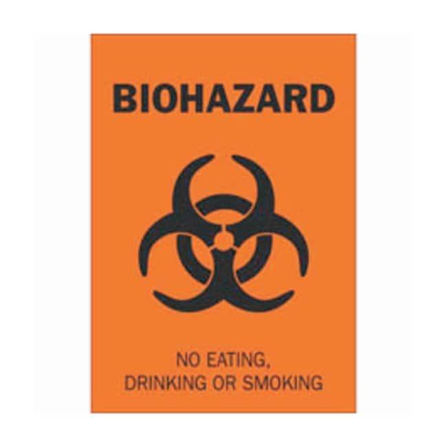Brady Polyester Biohazard Sign: NO EATING, DRINKING OR SMOKING:Gloves,