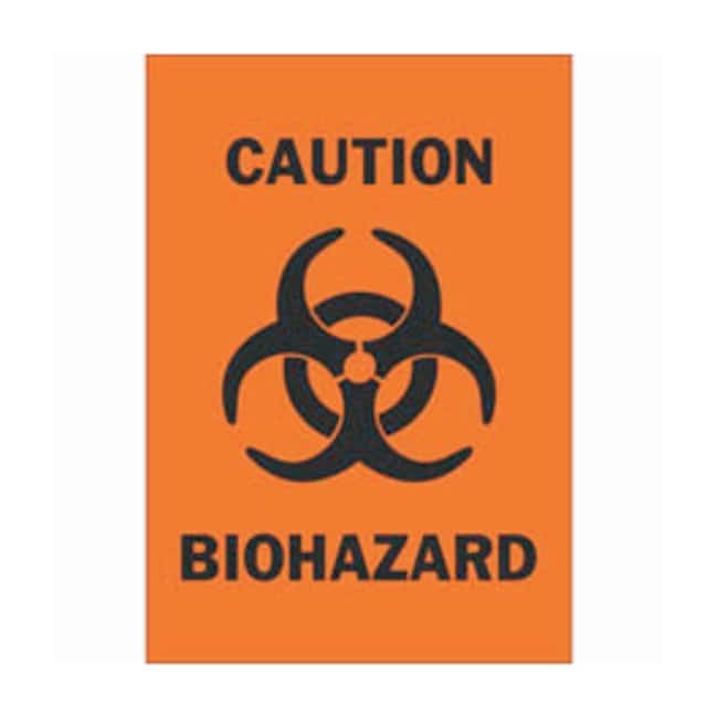 Brady Fiberglass Caution Sign: BIOHAZARD Black on orange; Non-adhesive;