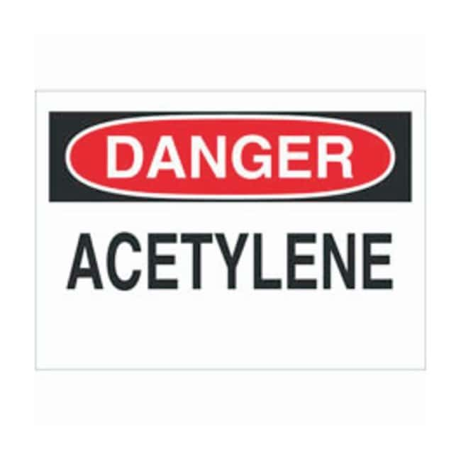 Brady Fiberglass Danger Sign: ACETYLENE Black/red on white; Non-adhesive;
