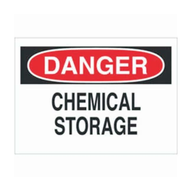 Brady Aluminum Danger Sign: CHEMICAL STORAGE, With Corner Holes Black/red