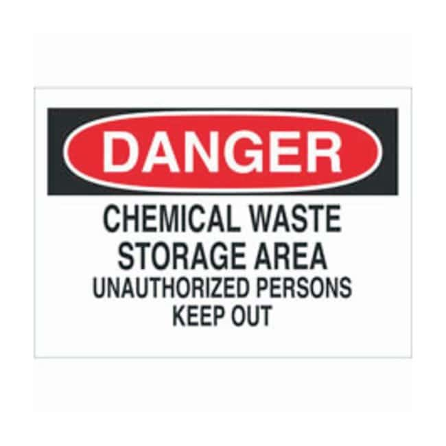 Brady Aluminum Danger Sign: CHEMICAL WASTE STORAGE AREA UNAUTHORIZED PERSONS