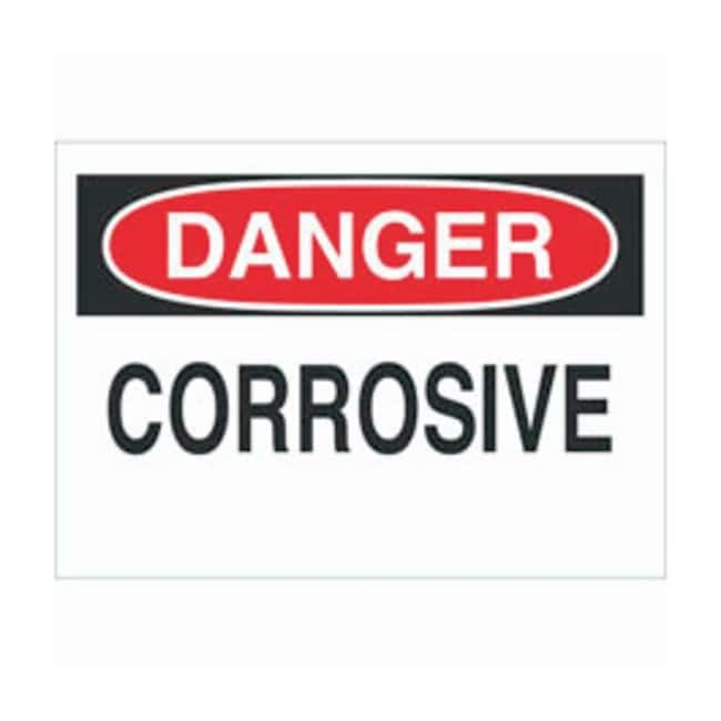 Brady Aluminum Danger Sign: CORROSIVE Black/red on white; Non-adhesive;