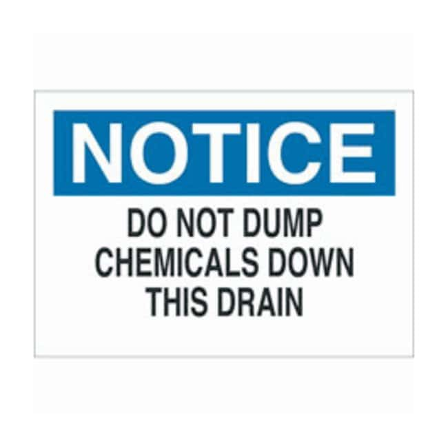 Brady Aluminum Notice Sign: DO NOT DUMP CHEMICALS DOWN THIS DRAIN Black/blue