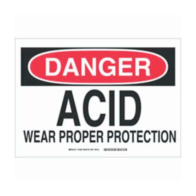 Brady Aluminum Danger Sign: ACID WEAR PROPER PROTECTION Black/red on white;