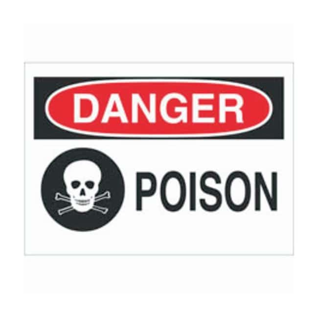 Brady Polyester Danger Sign: POISON Black/red on white; Cold temperature