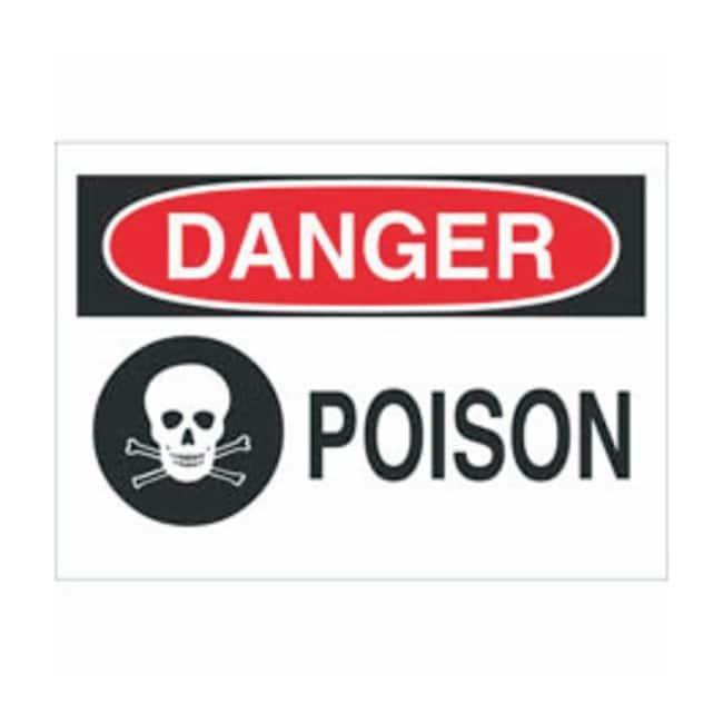 Brady Aluminum Danger Sign: POISON Black/red on white; Non-adhesive; Corner