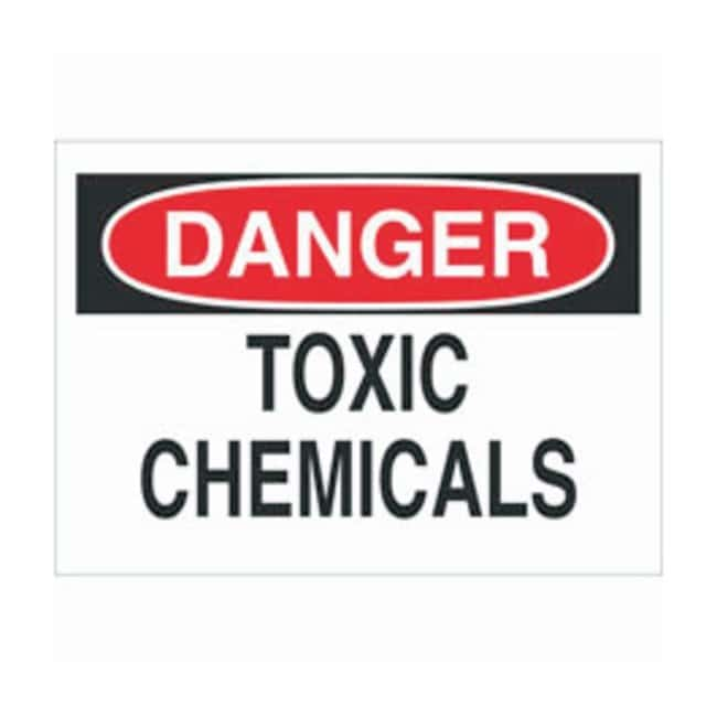 Brady Aluminum Danger Sign: TOXIC CHEMICALS Black/red on white; Non-adhesive;
