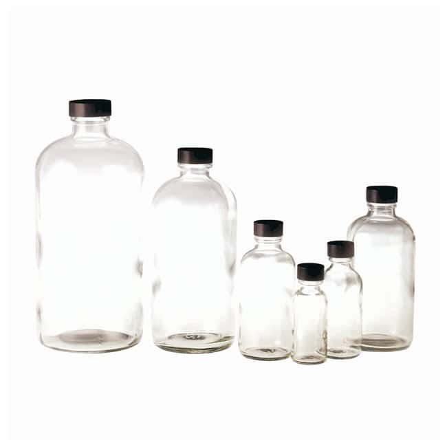 Qorpak™ Clear Boston Round Bottles with Black Phenolic Cap and PTFE/Silicone Septa