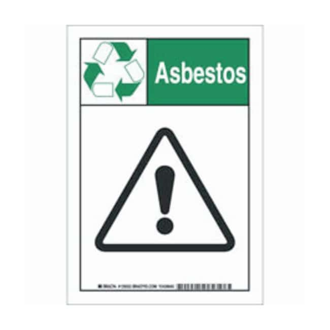 Brady Aluminum Warning Sign: ASBESTOS:Gloves, Glasses and Safety:Facility