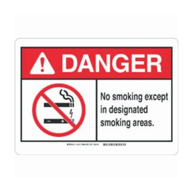Brady Aluminum ANSI Danger Sign: NO SMOKING EXCEPT IN DESIGNATED SMOKING
