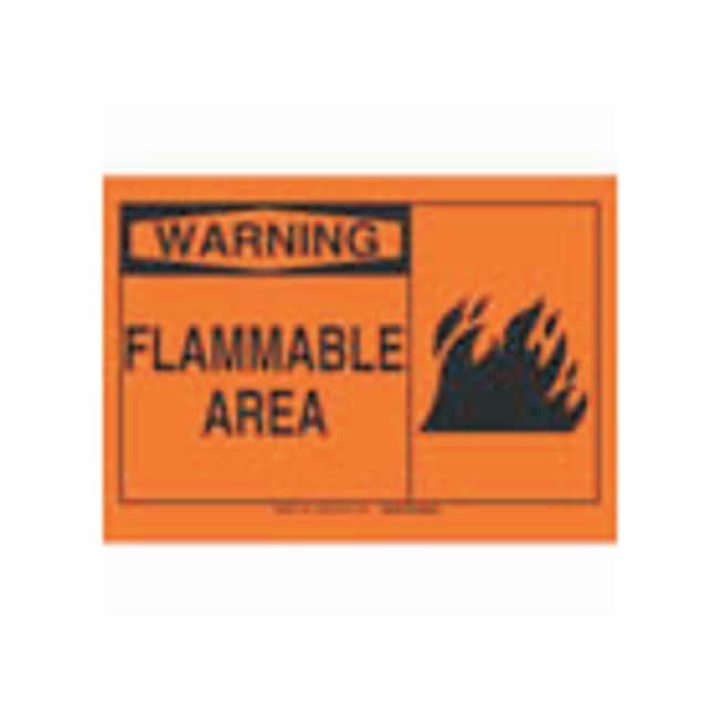Brady Polystyrene Warning Sign: FLAMMABLE AREA, pictogram Black on orange;