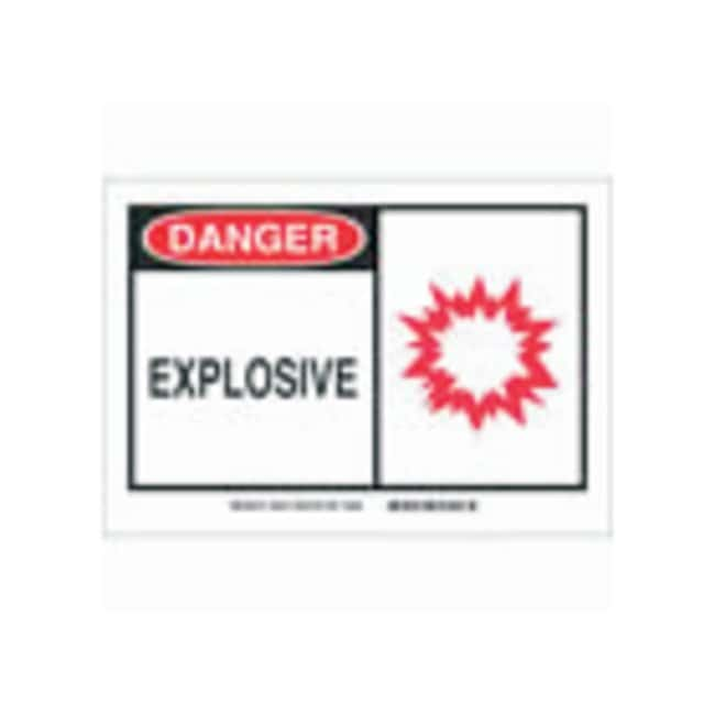 Brady Polystyrene Warning Sign: EXPLOSIVE Black/red on white; 10 in. x