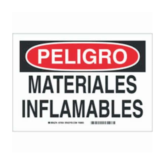 Brady Polyester Adhesive Warning Sign: MATERIALES INFLAMABLES Black/red