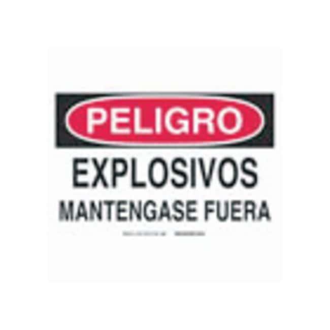 Brady Aluminum Warning Sign: EXPLOSIVOS MANTENGASE FUERA Black/red on white;