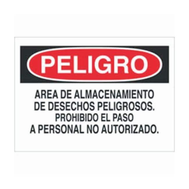 Brady Plastic Spanish Danger Sign: AREA DE ALMACENAMIENTO DE DESECHOS PELIGROSOS.