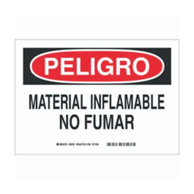 Brady Aluminum Warning Sign: MATERIAL INFLAMABLE NO FUMAR Black/red on