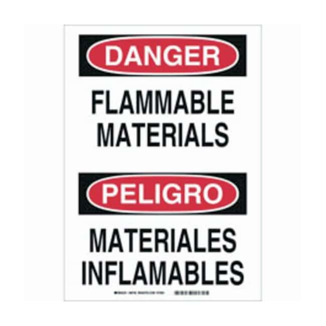 Brady Polystyrene Warning Sign: FLAMMABLE MATERIALS/MATERIALES INFLAMABLES