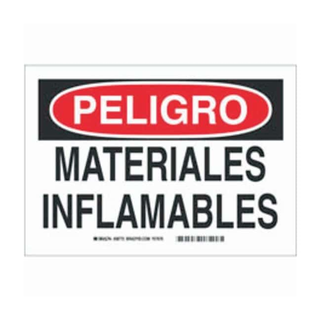 Brady Polystyrene Warning Sign: MATERIALES INFLAMABLES Black/red on white;
