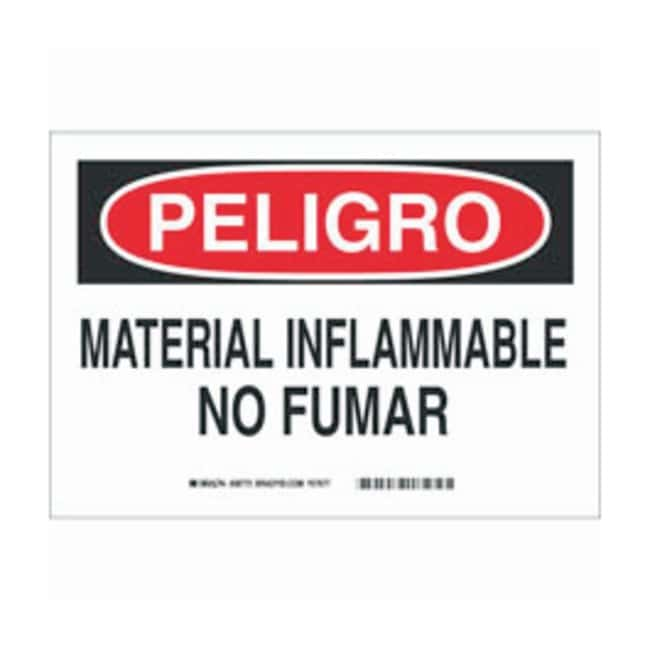 Brady Polystyrene Warning Sign: MATERIAL INFLAMABLE NO FUMAR Black/red