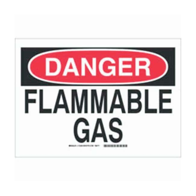 Brady Polyester Adhesive Danger Sign: FLAMMABLE GAS Black/red on white;