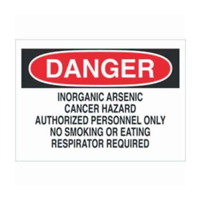 Brady Aluminum Warning Sign: INORGANIC ARSENIC CANCER HAZARD AUTHORIZED