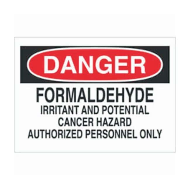 Brady Aluminum Warning Sign: FORMALDEHYDE IRRITANT AND POTENTIAL CANCER