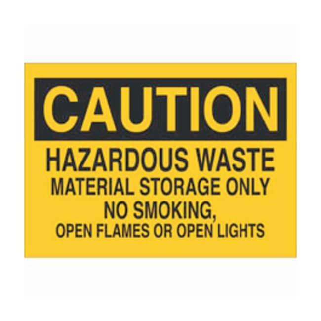 Brady Fiberglass Warning Sign: HAZARDOUS WASTE MATERIAL STORAGE ONLY NO