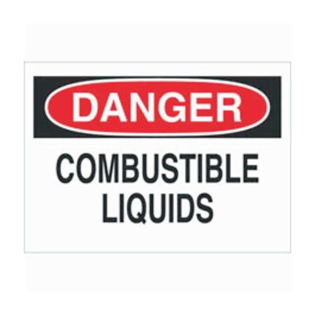 Brady Aluminum Danger Sign: COMBUSTIBLE LIQUIDS, pictogram Black/red on