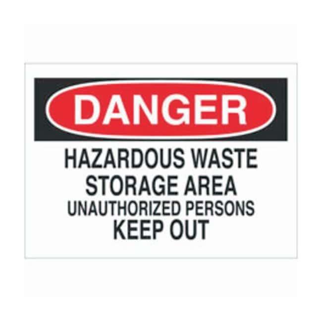 Brady Aluminum Danger Sign: HAZARDOUS WASTE STORAGE AREA UNAUTHORIZED PERSONS