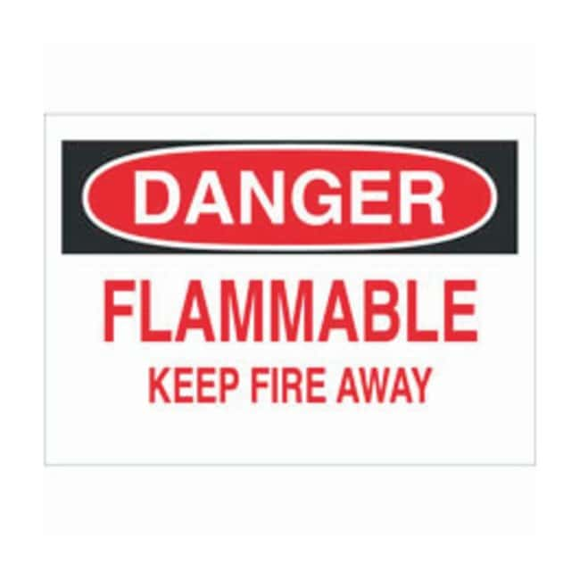 Brady Aluminum Warning Sign: FLAMMABLE KEEP FIRE AWAY:Gloves, Glasses and