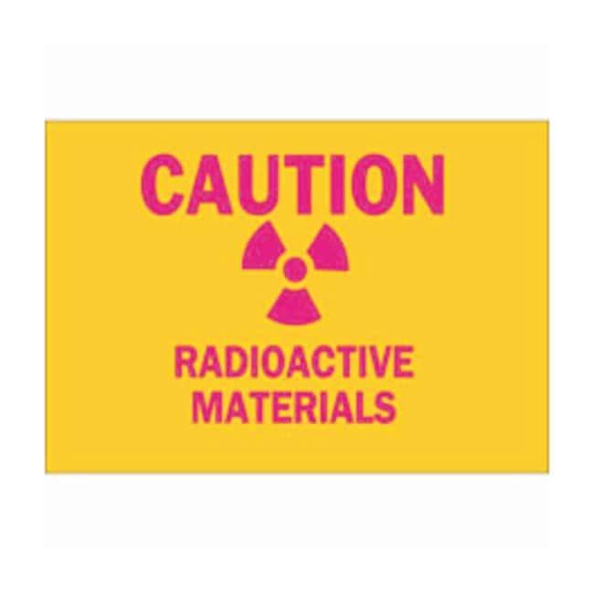 BradyPolyester Adhesive Radiation  Laser Sign: RADIOACTIVE MATERIALS Magenta